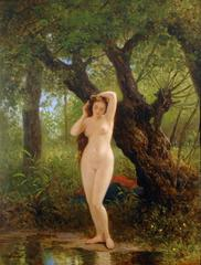 Landscape with Nude Figure 'Before Bathing' by George Eduard Otto Saal