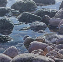 Realist painting of Rockpool Reflections by Mark Esteve 'Mirror Calm II'