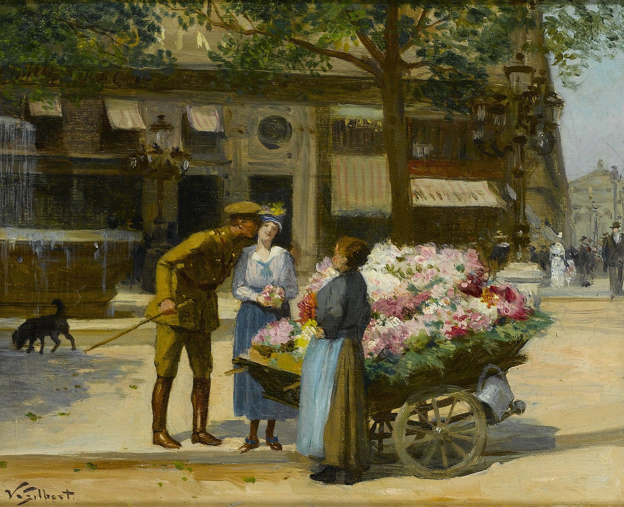 'Marchande de Fleurs' a Parisian street scene with soldier, figures & flowercart