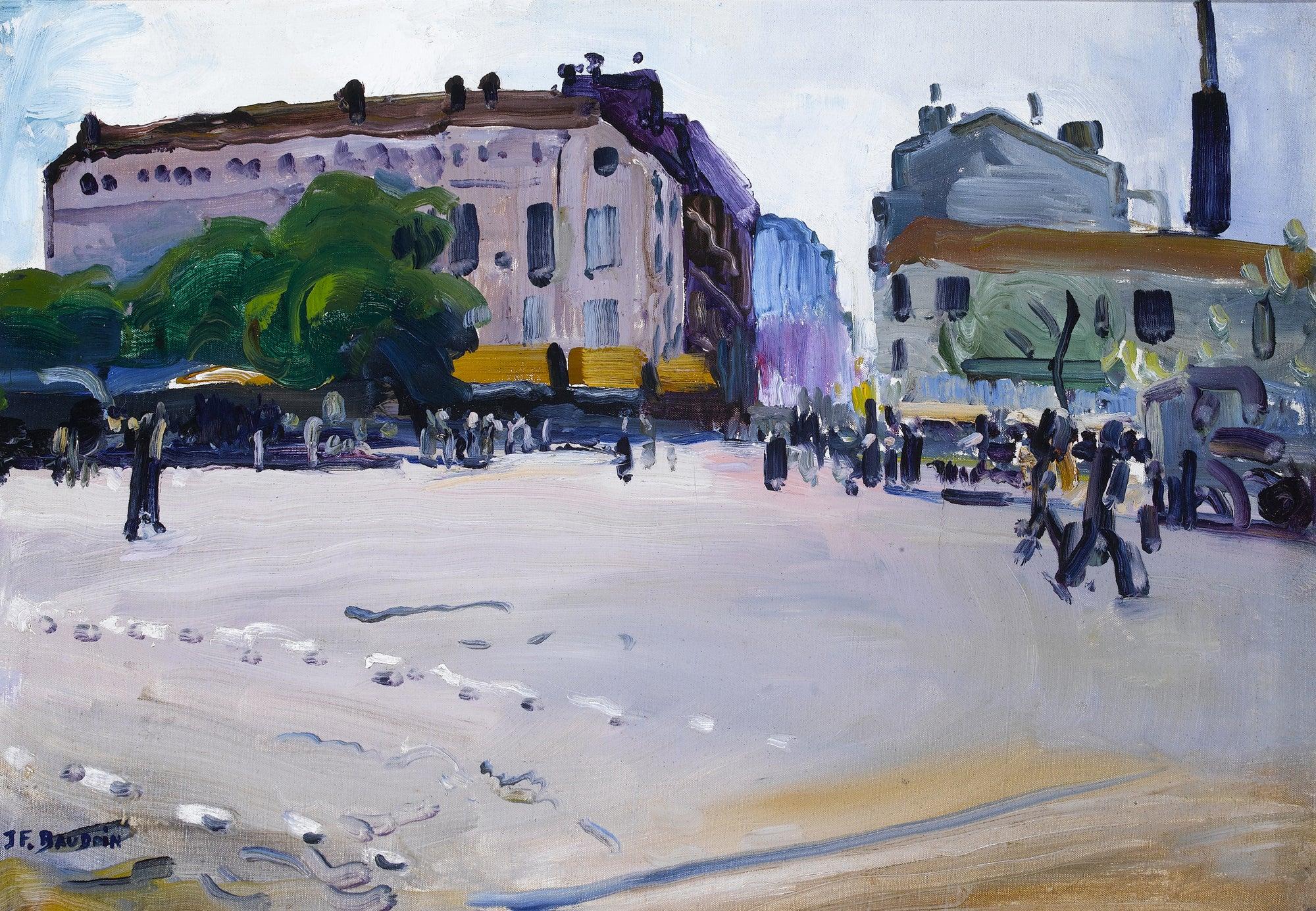 'Place de la Bataille' Busy French Paris Street Scene with Figures, Buildings