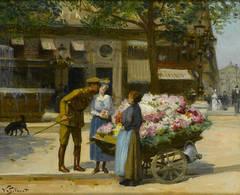 Victor Gabriel Gilbert - La Marchande de Fleur, Avenue de L'Opera by Victor Gabriel Gilbert