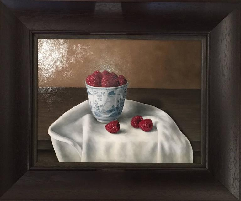 Photo-realist still-life painting 'Raspberries in a Bowl' by Barbara Vanhove For Sale 1
