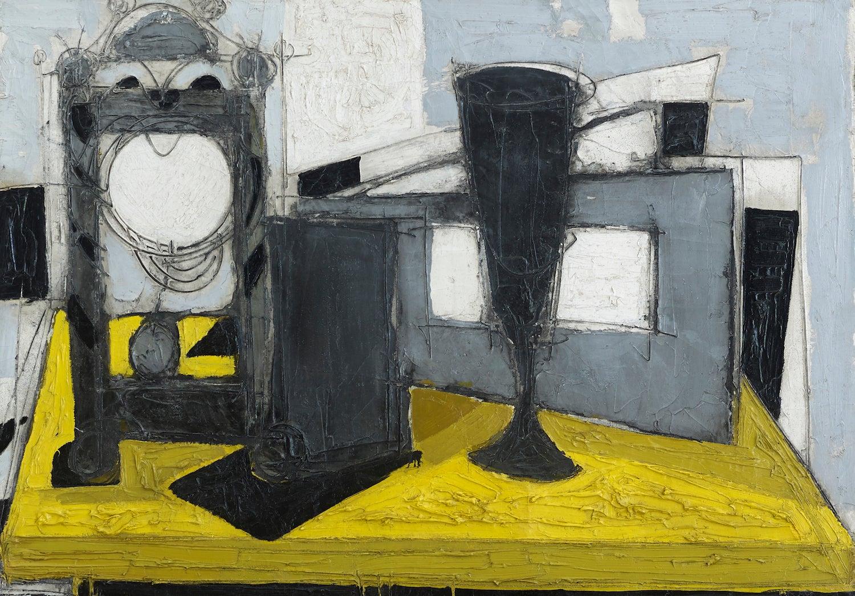 Post-Cubist 20th Century Still-Life painting 'Pendule et Verre' Yellow & Black