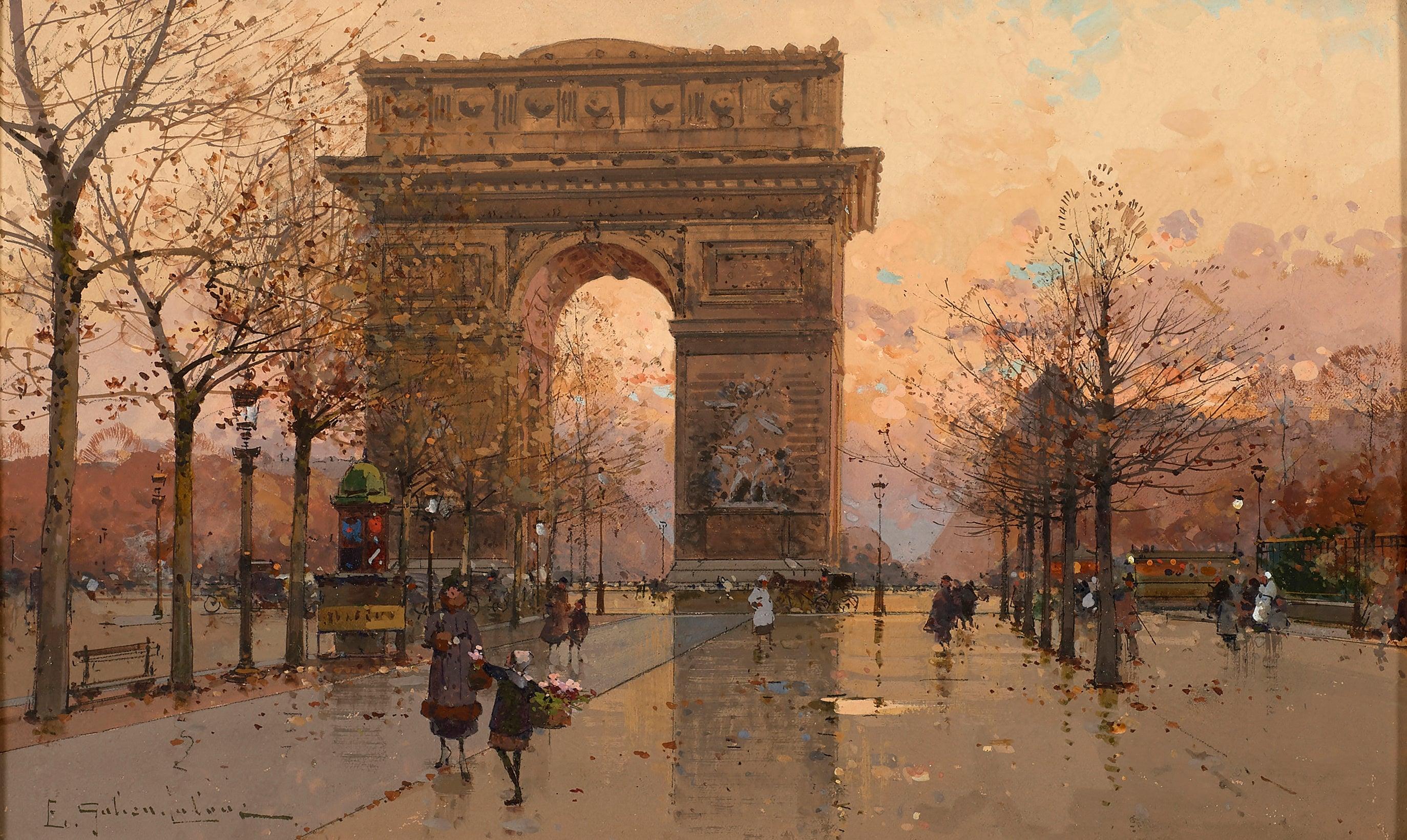 'Sunset at the Arc de Triomphe' Parisian street scene of Paris with figures