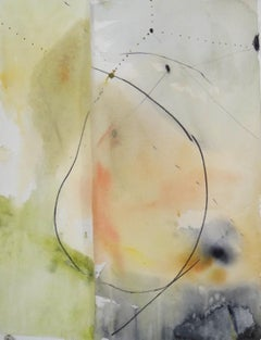 Round, Small Abstract Painting on Paper