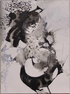 Quiet the White I, Black and White Abstract Painting on Paper (Unframed)