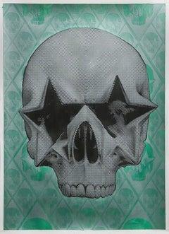 Starskull Negative (Black Stars/Green Background)