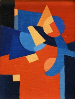 Untitled Abstract Composition, red blue orange abstract oil painting on board