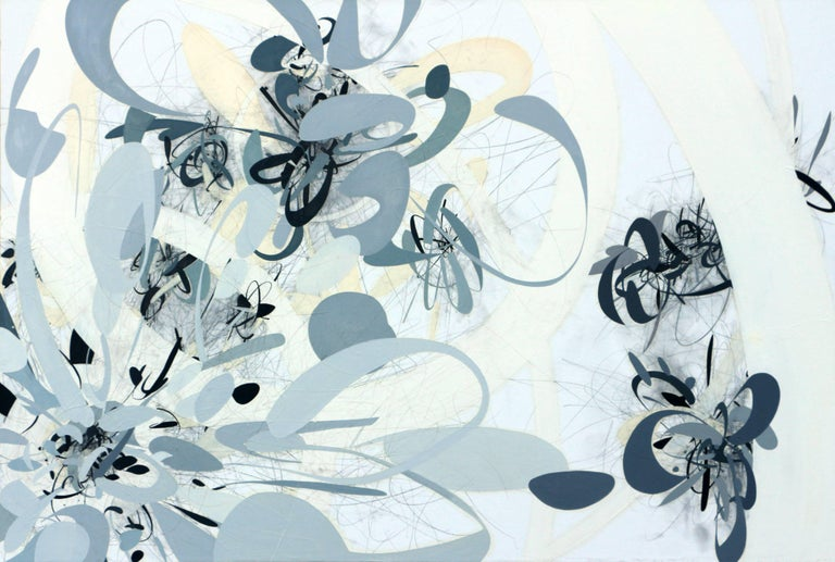 Map of the World 3, abstract white, grey, black painting with map inspiration