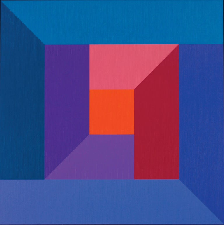 Karl Benjamin Abstract Painting - #7, original oil painting with blue, purple, red, pink and orange color squares