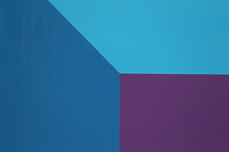 #7, original oil painting with blue, purple, red, pink and orange color squares  - Hard-Edge Painting by Karl Benjamin