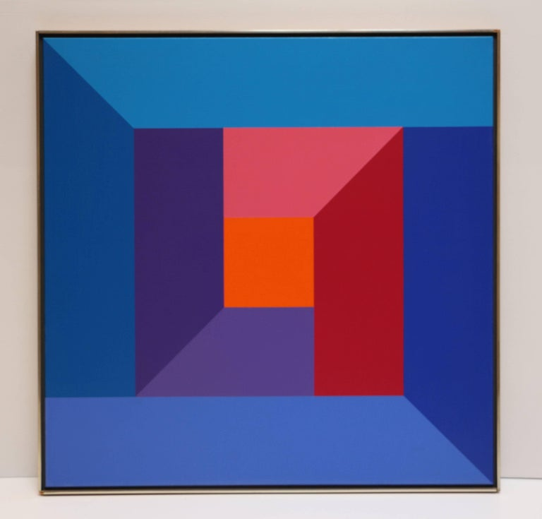 #7, original oil painting with blue, purple, red, pink and orange color squares  - Painting by Karl Benjamin
