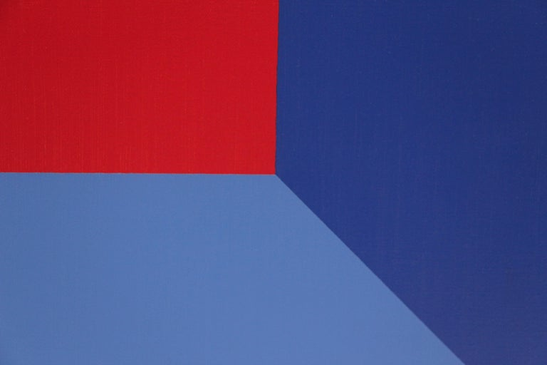 This original oil on canvas composition includes blue, purple, red, orange and pink colors in interacting geometric shapes and is by the renowned California abstract classicist Karl Benjamin (1925-2012).   Benjamin was known for filling his prints