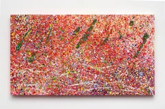 Untitled (O), abstract colorful acrylic dot and splatter painting