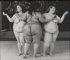 Three Graces, black and white print of three nude women with apples