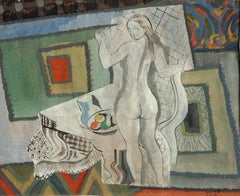 Femme Cubiste, cubist style painting of nude female with fruit bowl