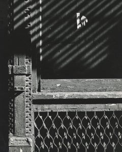 untitled, vintage black and white print of exterior building details in NYC