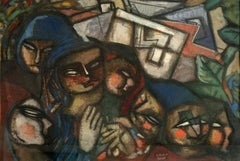 Family, gouache on paper depicting a family of 7 in Cubist style and dark colors