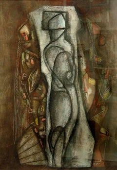 Untitled Composition with Figure, cubist work with central figure