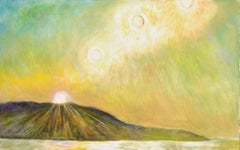 Rising, landscape painting with mountain and sun in various positions in the sky
