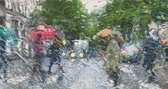 Avenue Raymond Poincaré, Paris, colored pencil drawing of cars & people in rain