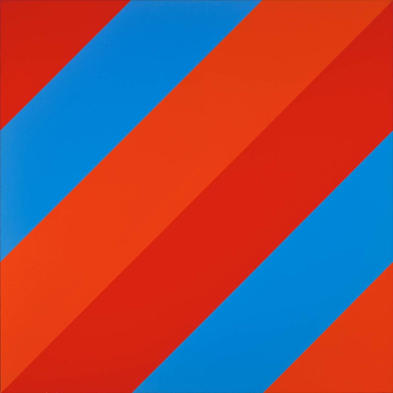 #10, red and blue diagonal striped abstract geometric oil painting