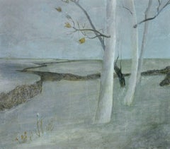 White Trees, small oil painting of white trees and a barren landscape
