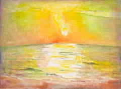 Western Sea, bright and colorful abstract landscape of sun over the sea