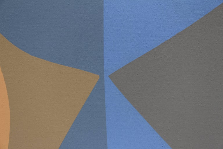 This acrylic painting uses various shades of blue and tan in a geometric pattern that creates a shifting Surrealist form.   In 1934, Helen Lundeberg founded Subjective Classicism, better known as Post Surrealism, where carefully planned subjects