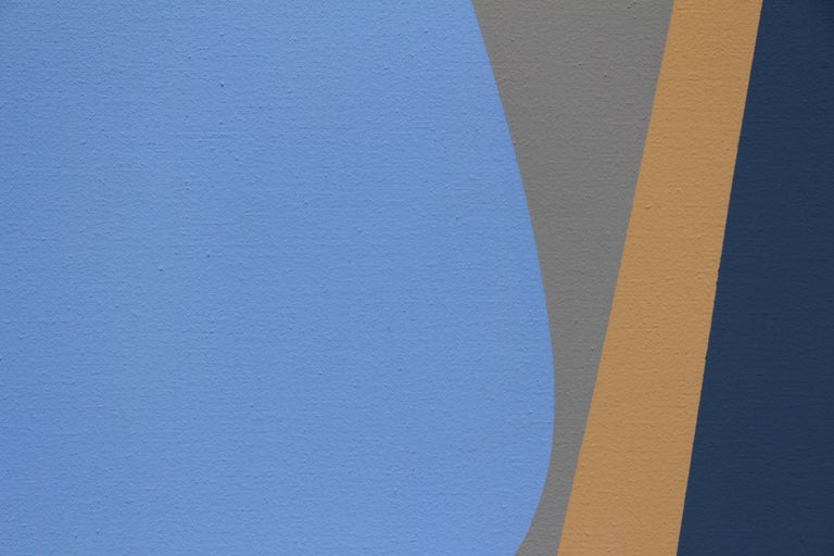 Untitled (March), blue and cream geometric Surrealist acrylic painting For Sale 1