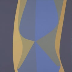 Untitled (March), blue and cream geometric Surrealist acrylic painting