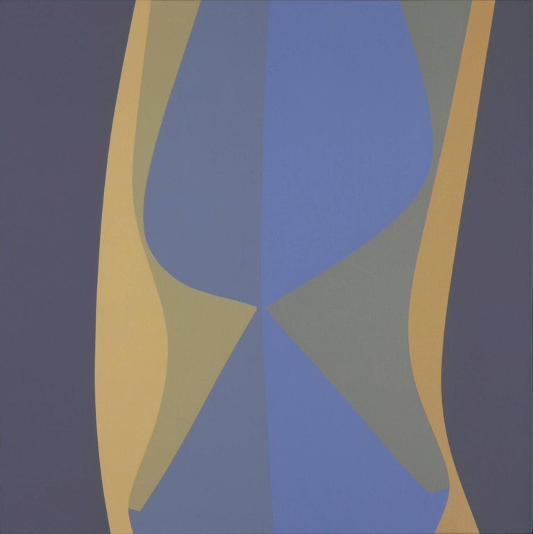 Helen Lundeberg Abstract Painting - Untitled (March), blue and cream geometric Surrealist acrylic painting