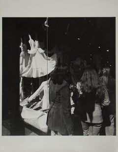 untitled, vintage black and white print of NYC storefront window and people