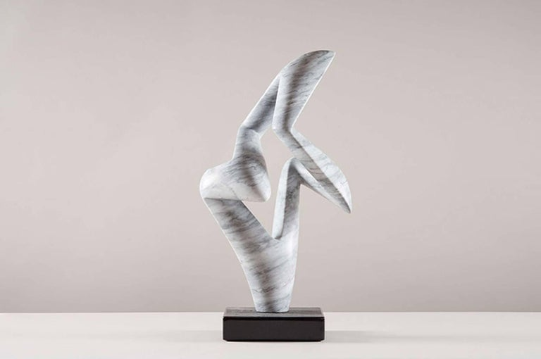 Arete Working Model, Bardiglio Marble Abstract Sculpture