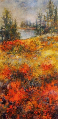 On Fire, Varnished Watercolor Landscape on Archival Claybord