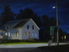 Night Intersection, Realist Oil on Panel Landscape
