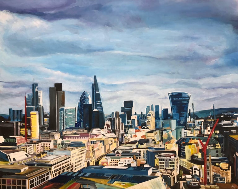 St Paul's London, Looking East - Cityscape Painting from British Urban Artist