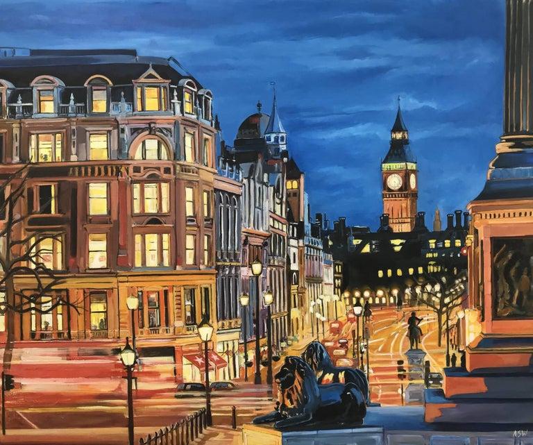 Angela Wakefield Landscape Painting - Trafalgar Square, Big Ben, Westminster London by British Cityscape Artist
