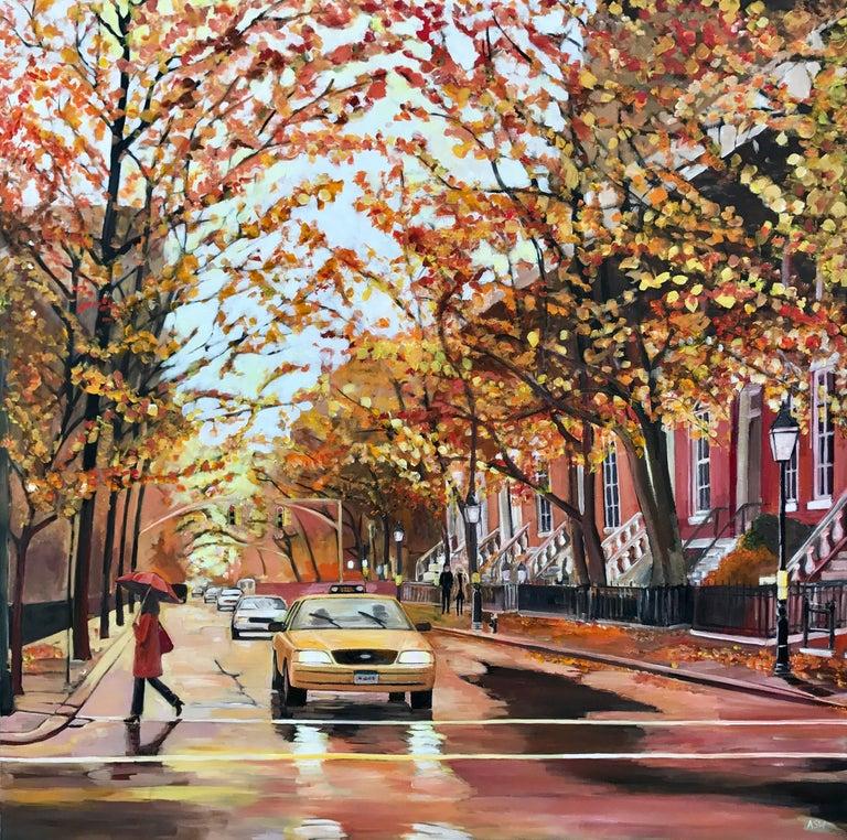 Painting of Greenwich Village Manhattan New York City NYC British Urban Artist 4