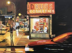 New York City Drug Store Painting of Manhattan by British Urban Landscape Artist