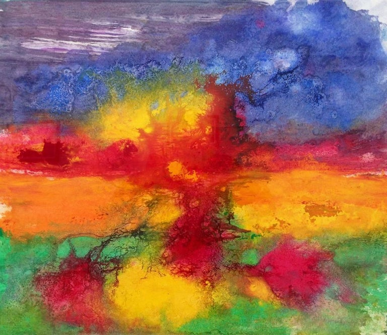 Margaret Francis Abstract Painting - Abstract 36 Red Orange Yellow Green Colourful Painting from British Artist