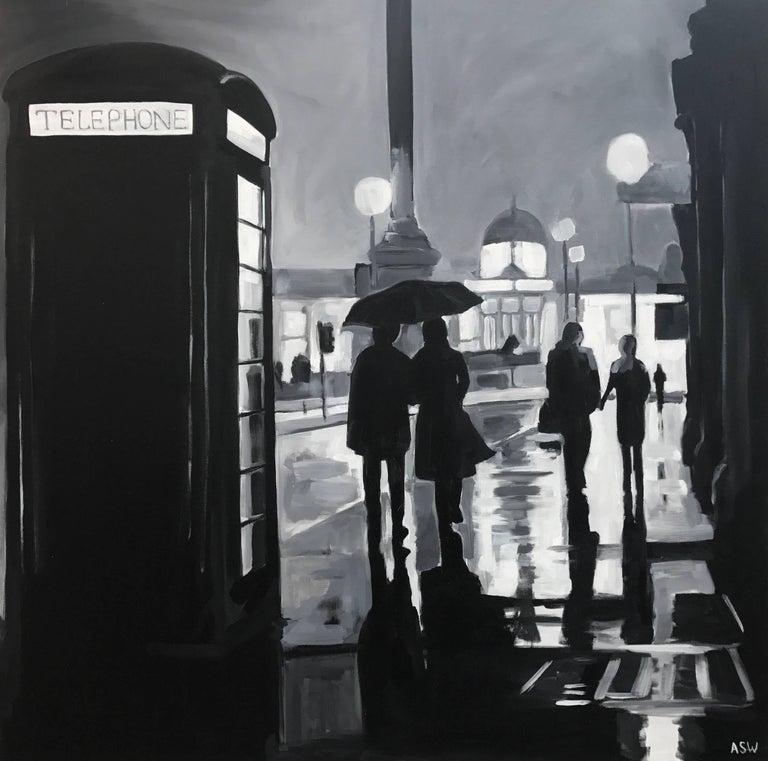 Angela Wakefield Figurative Painting - Painting of Trafalgar Square Rain London City by British Urban Landscape Artist