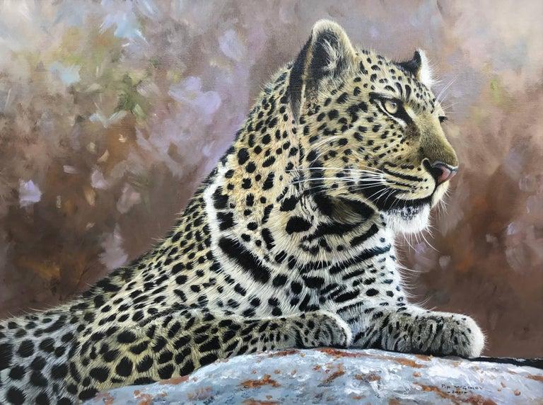 Leopard Portrait - Wild Cat Regal Beast Painting from British Wildlife Artist 1