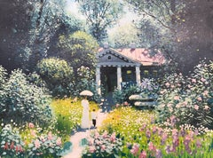 Lush Garden Original Oil Painting by 20th Century Russian Landscape Artist