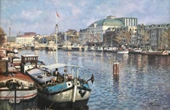 Amsterdam Canal – Carré by leading 20th Century Dutch Urban Landscape Artist