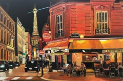 Parisian Café, Eiffel Tower, Paris, France by British Urban Landscape Artist