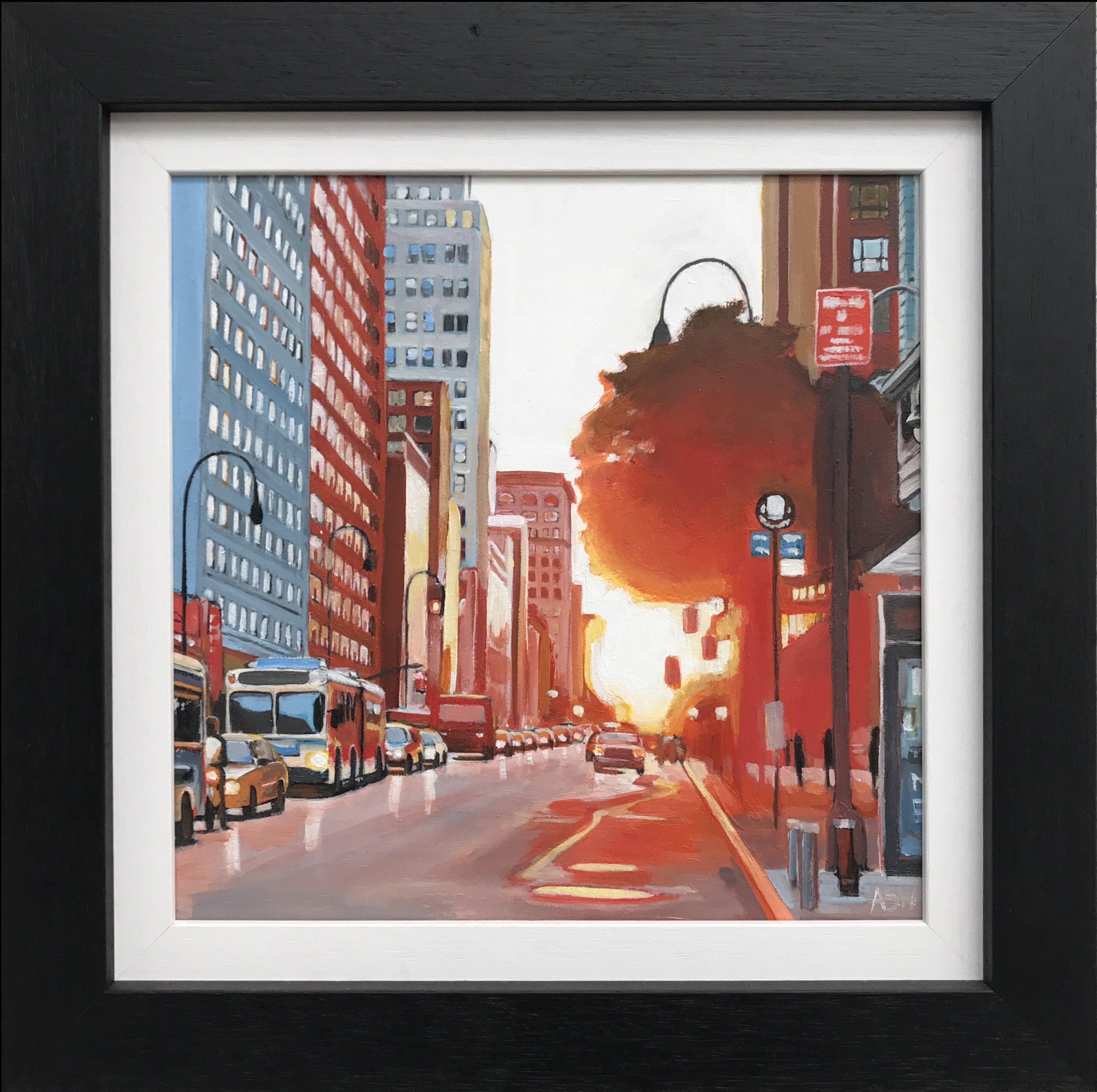 New York Street Scene Urban Landscape Painting from British Artist Collection