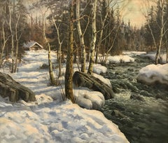 Original Painting - 'Stream in Winter Forest' by Danish Landscape Artist