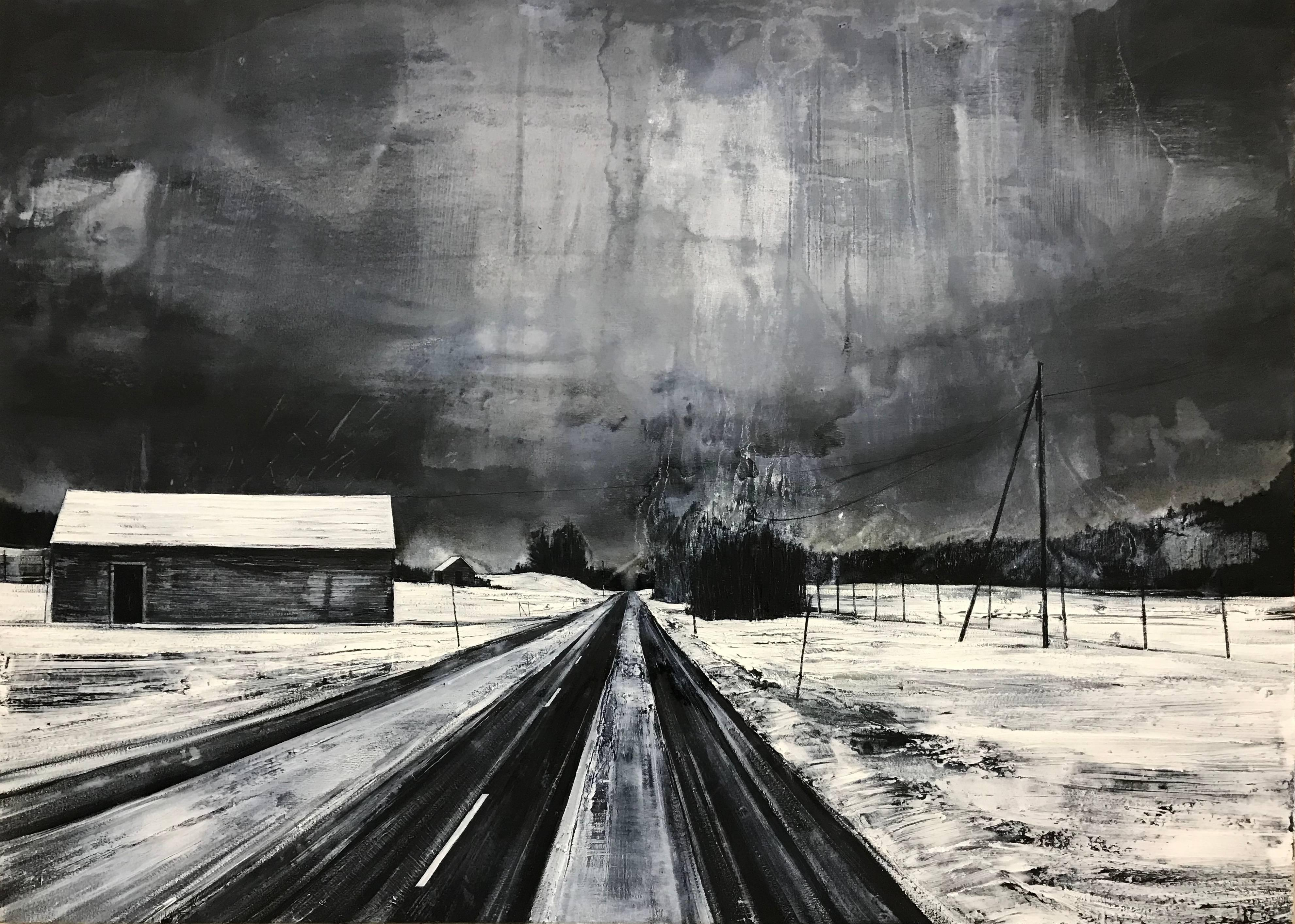 Black & White Atmospheric Landscape Painting by Contemporary British Artist