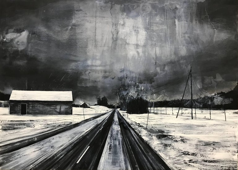 Revealed Wounds - Black & White Atmospheric Landscape Painting